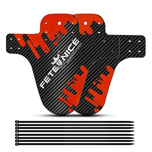 FETESNICE 2 stücke Kohlefaser Textur Mountainbike Kotflügel MTB Fahrrad Vorne Kotflügel Hinten DH Radfahren 26/27,5/29 Fahrradkotflügel Fahrrad Zubehör (Rot-C)