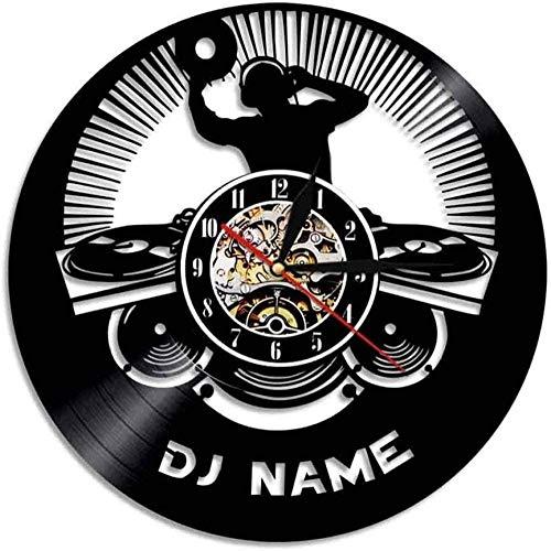 CCGGG Reloj de Pared Disco Disc Jockey Artista Colgante de Pared decoración del hogar Reloj de Pared Nombre del Logotipo Reloj de Pared Hecho a Mano Regalos Personalizados para Hombres