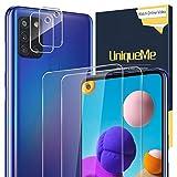 UniqueMe [2+2 Pack] Compatible con Samsung Galaxy A21s Protector de Pantalla y Protector de Lente de cámara, Vidrio Templado [9H Dureza] HD Film Cristal Templado
