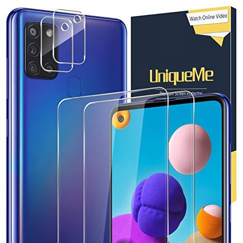 UniqueMe [2 Pack] Protector de Pantalla para Samsung Galaxy A21s + [2 Pack] Protector de Lente de cámara, Vidrio Templado [9H Dureza] HD Film Cristal Templado