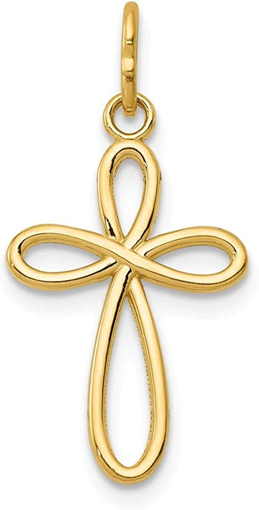 14K Yellow Gold Popular standard Deluxe Polished Small Ribbon Cross Pendant