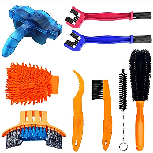 9pcs Bike Chain Cleaner Bike Cleaning Motorcycle Chain Cleaner Bicycle Tool Kits Tire Brushes MTB Cleaning for Road Bikes Bicycle