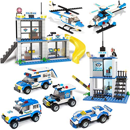 City Police Station & Police Car Building Toy with Cop Cars, Police Helicopter, Baseplate Storage Box, Best Education Learning & Roleplay Toys Gift for Boys and Girls Age 6-12 (808 Pieces)