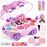 Geyiie Kids Makeup kit for Girl ,Washable Real Kids Play Makeup Set - Realistic Pretend Makeup for Girls , All in 1 Makeup Case Include Eyeshadow,Lip Gloss,Blusher,Powder, Mirror,Nail Polish& Stickers