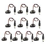 HALJIA 10 pezzi 9 V batteria fibbia Snaps alimentazione cavo connettore clip 2.1 mm DC presa jack T Tipo Compatibile con Arduino