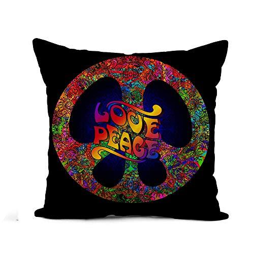N\A Throw Pillow Cover Símbolo del Pacífico del Hippie Amor y Paz Funda de Almohada de Arco Iris Decoración del hogar Funda de Almohada de Lino de algodón Cuadrada Funda de cojín