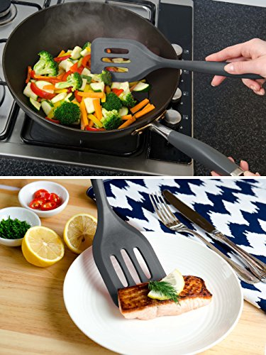 """StarPack Basics XL Silicone Turner Spatula/Slotted Spatula (13.5""""), High Heat Resistant to 480°F, Hygienic One Piece Design, Non Stick Kitchen Utensil for Fish, Eggs, Pancakes, Wok (Gray Black)"""