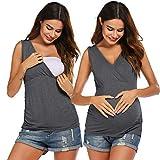 Stilltops Umstands T Shirt Umstandstop stillen Umstandsshirt Mit Ärmellos Nursing Schwangerschaft Top Umstandsmode Grau L