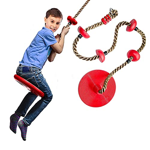 MYRCLMY Swing De Cuerda De Escalada para Niños, Árbol De Swing Al Aire Libre con Plataformas Y Arboles De Columpios De Arboles Platillo De Neumático De Casa Afuera Juguetes,Rojo