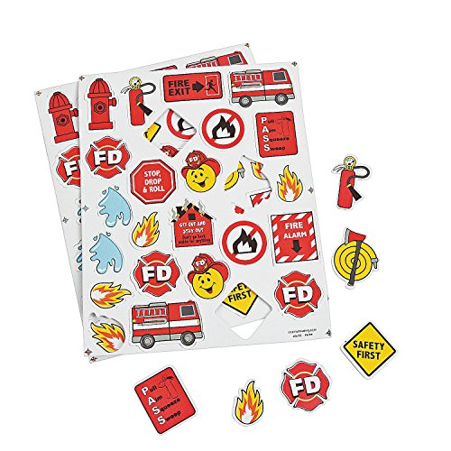 Fun Express Fire Safety Foam Shapes - 300 Pieces - Educational and Learning Activities for Kids