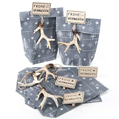 5 x verpakking Kerstmis kleine papieren zak grijs-wit + 5 gewei-hangers kerstverpakking geschenken 14 x 22 x 5,5 cm klantencollega's