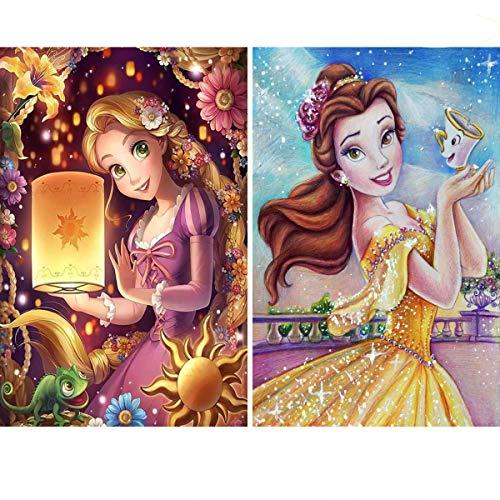 2 Pack DIY 5D Diamond Painting Kits,Simliber Full Drill Princess Diamond Painting for Beginner Adults Rhinestone Numbered Diamond Arts Home Wall Decor, 11.8 X 15.8inch