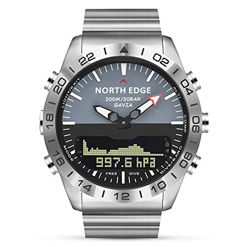 Männer Smart Business Watch, Tiefe Tauchen (Wasserdicht 200M) Sport Digitaluhr mit Höhenmesser, Kompass, Barometer, Thermometer, EL-Hintergrundbeleuchtung