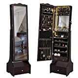 SONGMICS 39.4'' LED Light Strip Jewelry Cabinet Armoire, Lockable Full Length Mirrored Jewelry Organizer, Valentine Gifts, Makeup Tray and Large Drawer Base UJJC87BRV1