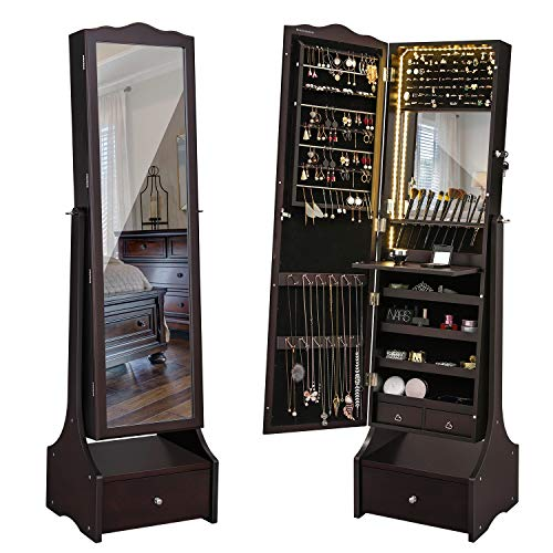 SONGMICS LED Jewelry Cabinet Lockable Free Standing Jewelry Armoire with Full Length Mirror Makeup Tray Large Drawer Base Brown UJJC87BRV1