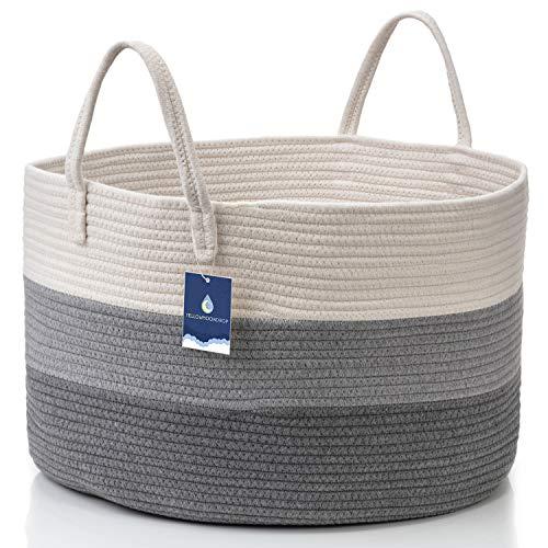 YELLOWMOONDROP XXL Woven Blanket Basket with Handles 20'X 20'X 13', Living Room Extra Large Basket, Cotton Rope Basket, Stuffed Animals Toy Basket, Pets & Kids Storage Basket, Nursery Basket