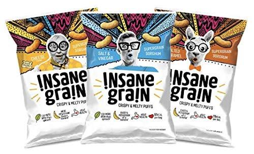 INSANE GRAIN Variety 9 Pack   Cheese, Salt & Vinegar & Salted Caramel   Sorghum Supergrain Puffs   Healthy Snack   Gut Health  Low Calorie  Crisps  Vegan  Gluten Free  Probiotics  Protein   Fibre