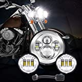 7' Chrome Harley Led Headlight Auxiliary Lamp Led Light Bulb + 2Pcs 4.5 Inch 30W CREE LED Motorcycle Fog Light Led Fog Lamp for Harley Davidson Motorcycle
