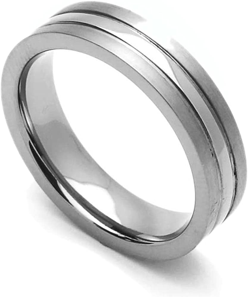 Double Accent 5MM Comfort Max 58% OFF Fit Wedding Polishe Ranking TOP6 Titanium High Band