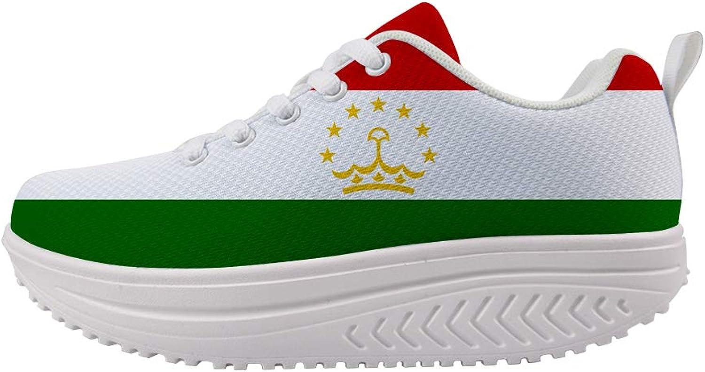 Owaheson Swing Platform Toning Fitness Casual Walking shoes Wedge Sneaker Women Tajikistan Flag