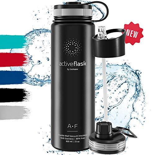Bottiglia Acqua Termica Inox Active Flask + Cannuccia (3 Tappi), Senza BPA - Thermos 1l/500ml   Borraccia Isotermica Acciaio - Caldo/Freddo, Ufficio O