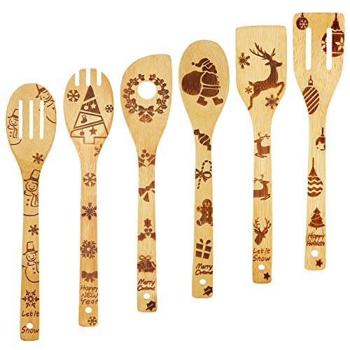 Nuenen 6 Pieces Christmas Wooden Spoons Set Burned Bamboo Set Burned Cooking Utensils Christmas Kitchen Decoration Spoon for Christmas Home Kitchen Tool Decor Supplies