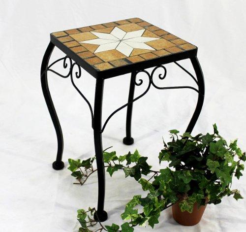 DanDiBo Blumenhocker Mosaik Eckig 38 cm Blumenständer 12015 Beistelltisch Pflanzenständer Mosaiktisch Klein