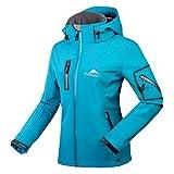 CIKRILAN, giacca softshell da donna, antivento, impermeabile, per sport all'aria aperta, campeggio, escursionismo, giacca in pile con cappuccio Blu M