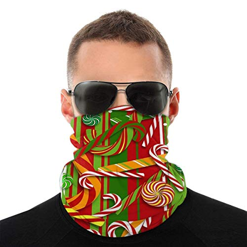 ALPHNJ Tour de Cou Noël-Candy-Pattern Bandanas Neck Gaiter Face Transparente Headwear Balaclavas for Dust Wind UV Protection