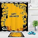 ZZ7379SL Feliz Halloween Calabaza Gato Búho Set de baño Resistente al Agua y Moho Duradero +12 Gancho