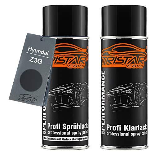 TRISTARcolor Autolack Spraydosen Set für Hyundai Z3G Micron Grey Metallic Basislack Klarlack Sprühdose 400ml