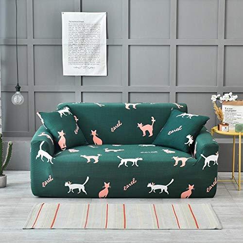 Fundas Decorativas para Sofás 4 Seater Color sólido Verde Ajustables Antideslizante Protector Sofa de Muebles Funda de Sofá Elástica 1 Funda de Cojín (235-300cm)