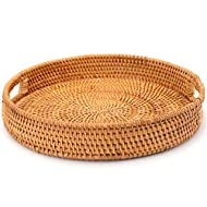 WUWEOT Rattan Serving Tray, 12 Inch Handmade Decorative Round Woven Basket with Handles, Table Tray for Serving Dinner, Parties, Breakfast, Coffee Tea, Drinks, Snack