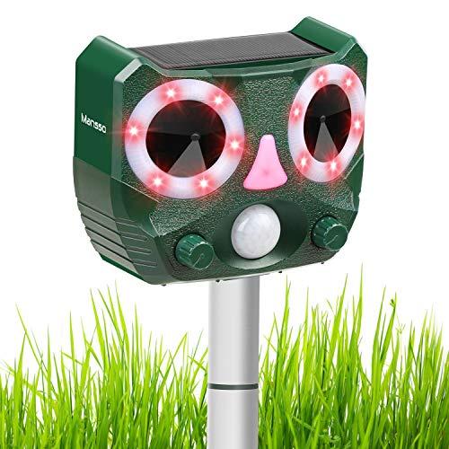 Mansso Katzenschreck Tiervertreiber, Solar Ultraschall Tierabwehr Wasserdicht Abwehr Hundeschreck Marderabwehr, Tierabwehr für Garten Bauernhof (Grün)