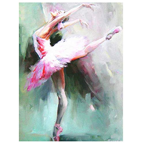 Bailarina DIY pintura digital para adultos sin marco 40x50cm niños digital pintura al óleo pared del hogar sala decoración Pintar por Numeros con Pinceles y Pinturas