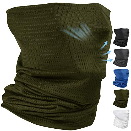 Cooling Neck Gaiter Face Mask Balaclava for Men Dust Running Face Cover Scarf Dark Green