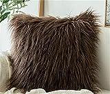 Fundas de Cojín, fundas para cojines,cojines para sofa con Cremallera Invisible Funda de Cojín para sofá Dormitorio CocheEfecto de lana de imitación Color plush Follow Set 2pcs-45 * 45cm_marron oscuro