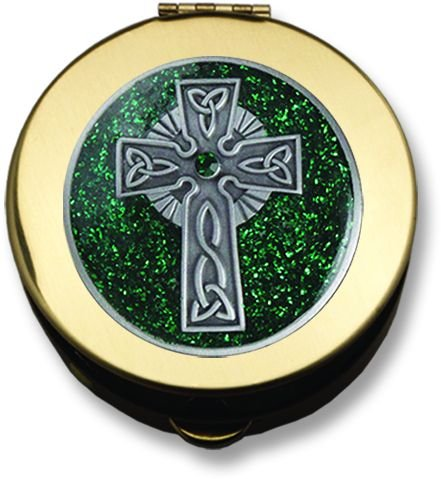 Cathedral Art PS452 Polished Brass PYX - Green Celtic Cross - Medium