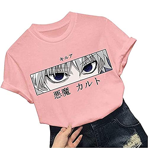 Hunter X Hunter Camiseta para Mujer, Camiseta Teen Killua Shirt Camiseta de Verano con Estampado de Anime en 3D, Transpirable, Suave y Cómodo, los Colores Son Vivos y no se Desvanecen