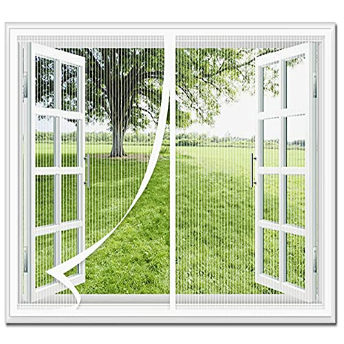 CHBIN Magnetic Fly Screen Door Window 90x130cm Automatically Mesh Curtain Without Drilling Easy to Install Prevent Dust for Air Conditioner Room Window, White