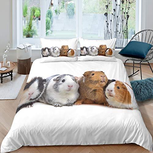 Nettes Meerschweinchen Bettwäsche Set 135x200cm für Mädchen Jungen Kinder Kinder 3D Haustier Maus Bettbezug Set Lustige tierbedruckte Betten Set Kinderzimmer Dekor Bettwäsche Kollektion 2St