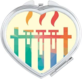 DIYthinker Different Temperatures Test Tube Chemistry Heart Compact Makeup Mirror Portable Cute Hand Pocket Mirrors Multicolor