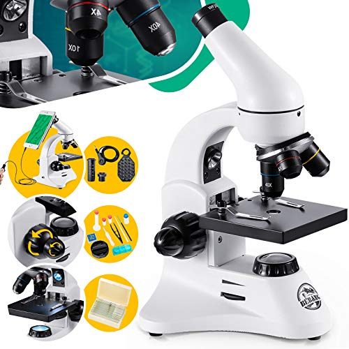 BEBANG 200X-2000X Microscope for Kids & Students Science Compound Microscope Kit with Slides & Adapter for Smartphone &Complete Lab Accessories Kit
