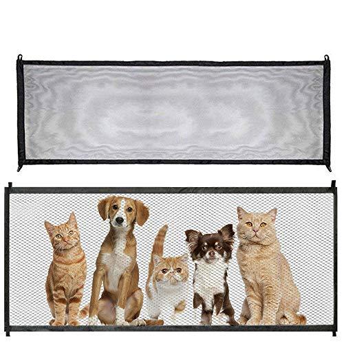 Tor für Hunde, Türen, Babygitter für Treppen, einziehbares Netz, magisches Tor für Kinder, Haustiere mit selbstklebenden Haken und einziehbaren Stützstangen für Treppen und Türen