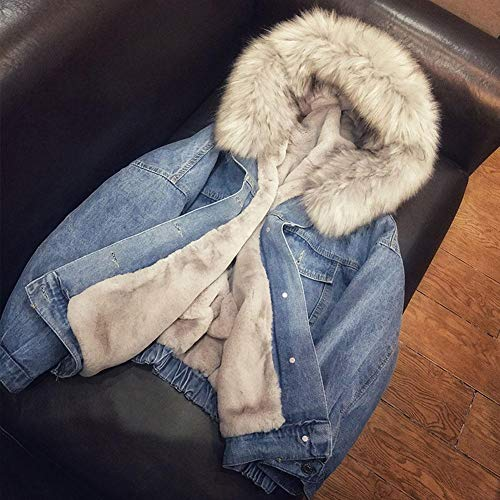 DonLucancy Damen-Jeansjacke mit Kapuze Mit Kapuze Mit Kunstpelz gefüttert Warme Mäntel Winddicht Mit Kunstpelz gefütterter Sherpa-Fleece-Denim-Trucker-Jacke mit Destroyed-Effekt Parka-Mantel
