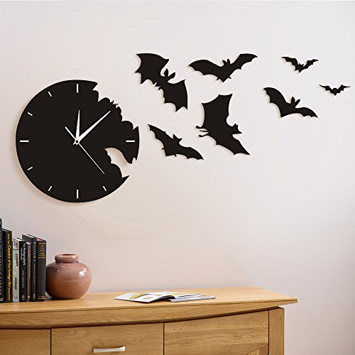 The Geeky Days A Bat Clock from The Escape Clock Bat Silhouette Silent Non Ticking Wall Clock Scary Bat Symbols Home Decor Contemporary Black Wall Watch