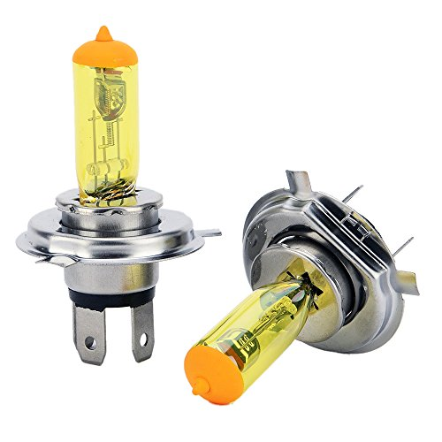 Gazechimp 2pcs Phares xénon H4 Dc 12v 100w Led Jaune Ampoules Antibrouillard Halogène Parking