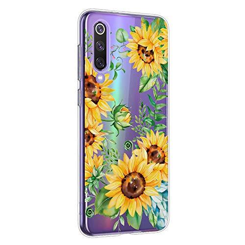 Oihxse Cristal Funda para Xiaomi Mi 8 Lite Transparente Suave TPU Flores Girasoles Amarillos Dibujo Diseño Serie Carcasa Flexible Bumper Anti-Choque Anti-Arañazos Protector (D1)