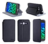 Etui luxe Samsung Galaxy Core Prime SM-G360/SM-G360F/G361F 4G noir / Core Prime VE Value Edition Ultra Slim Cuir Style avec stand...