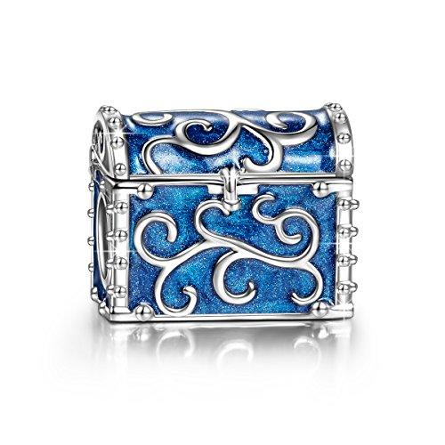 NINAQUEEN Charm Pandora adattarsi Blu Scatola Idee Regalo Donna Argento 925 Smalto Perline per la Madre Fidanzata Moglie